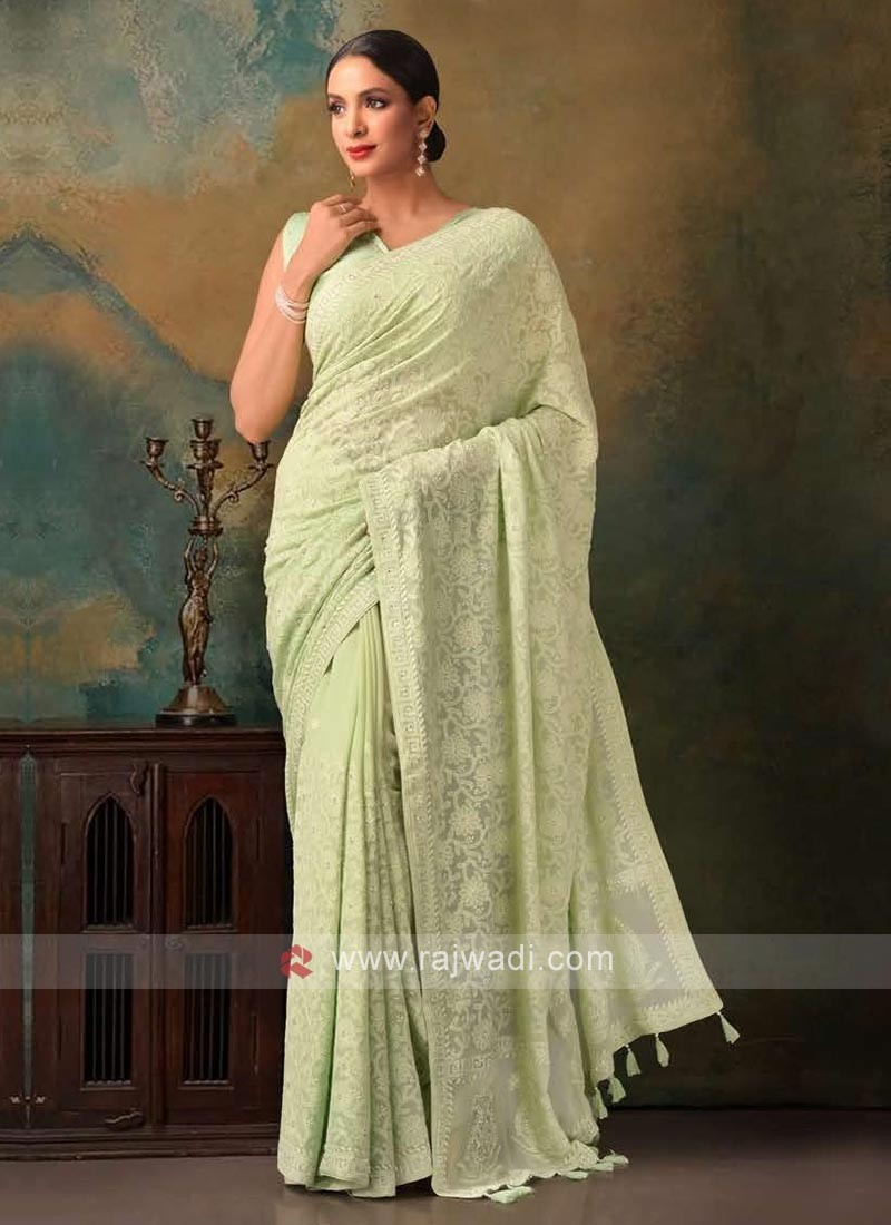 pista green color viscose chikankari saree