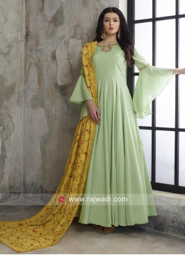 Pista Green Cotton Anarkali with Designer Dupatta