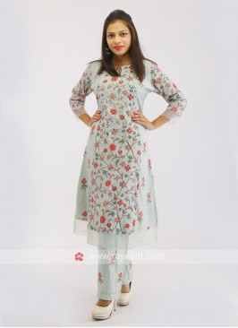 Pista Green Cotton Kurti Set