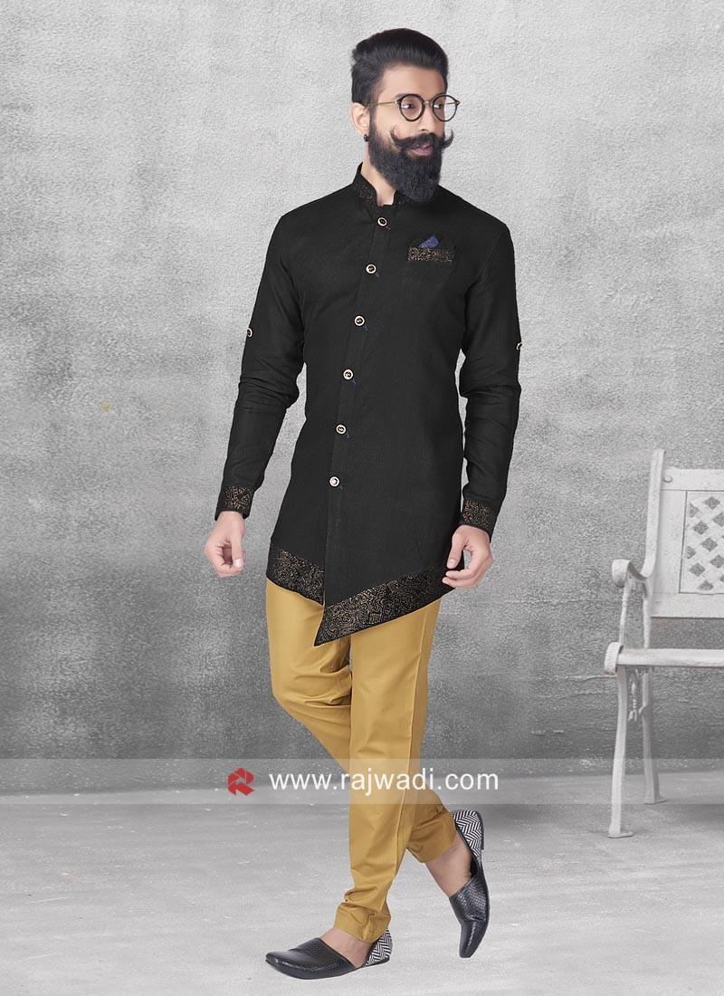 Black Linen Fabric Pathani Set