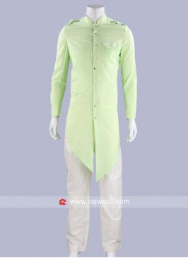 Pista Green Cotton Pathani Set