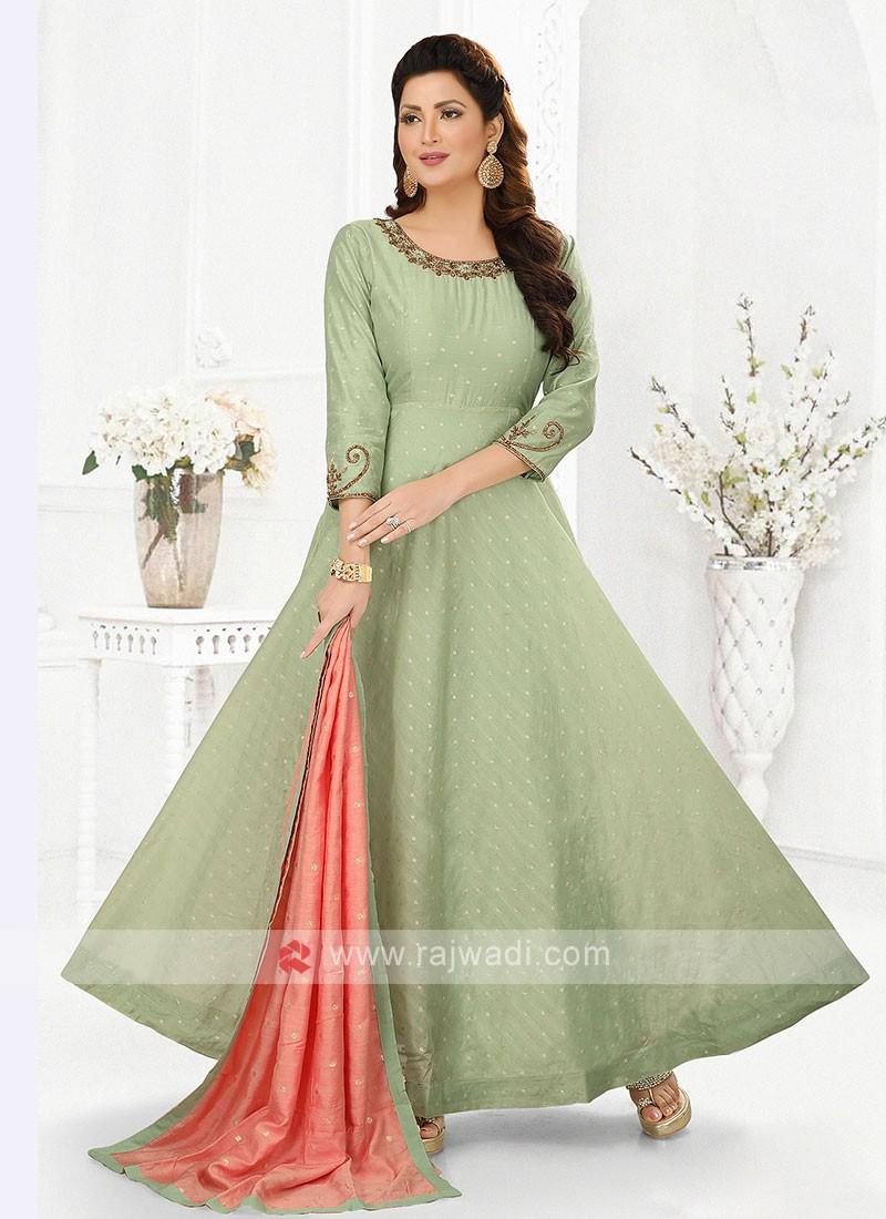 Pista Green Cotton Silk Anarkali Suit