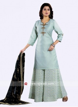 Pista Green Cotton Silk Palazzo Suit