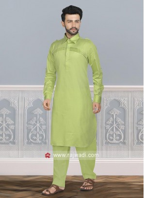 Pista Green Cotton Silk Pathani Set