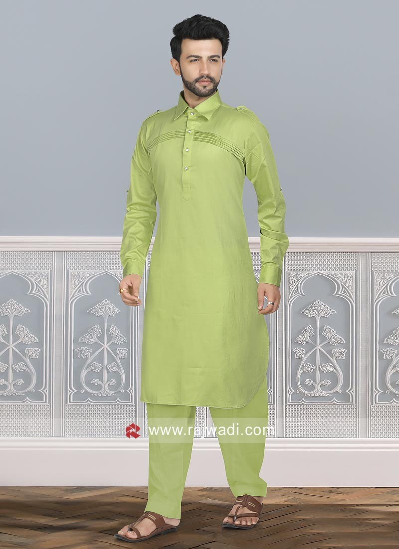 Pista Green Cotton Silk Pathani Set
