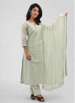 Pista Green Cotton Silk Printed Suit