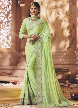 Pista Green Cut Work Border Saree