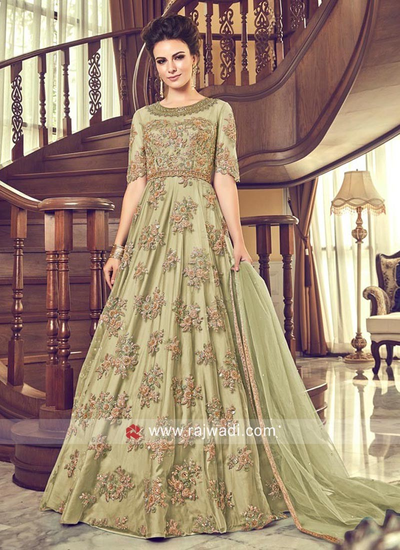 Pista Green Designer Anarkali Suit with Dupatta
