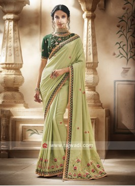 Pista Green Designer Saree