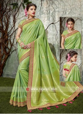 Pista Green Designer Saree with Tassels