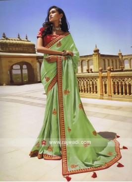 Pista Green Designer Wedding Saree