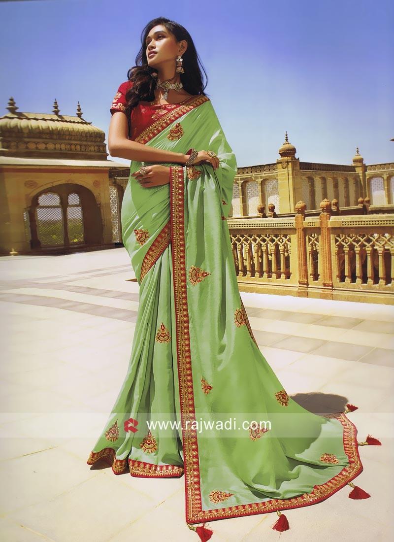 Pista Green Designer Wedding Saree