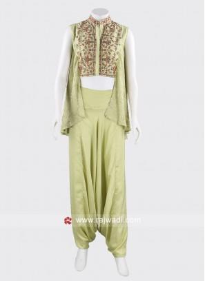 Pista Green Dhoti Style Dress