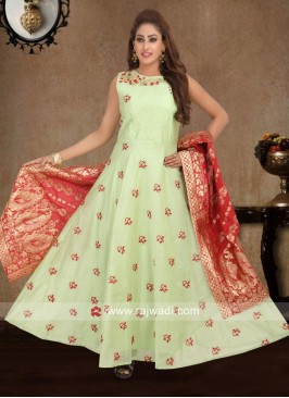 Pista Green Embroidered Anarkali Dress