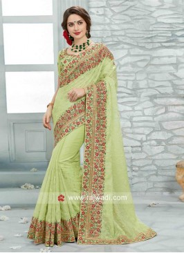 Pista Green Embroidered Art Silk Saree
