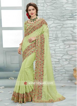 Pista Green Embroidered Art Silk Saree