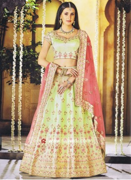 Pista Green Embroidered Lehenga Choli