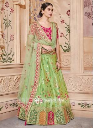 Pista Green Embroidered Lehenga Set