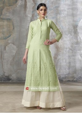 Pista Green Embroidered Palazzo Suit