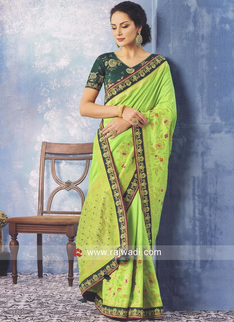 Parrot Green Embroidered Saree