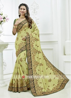 Pista Green Embroidered Saree