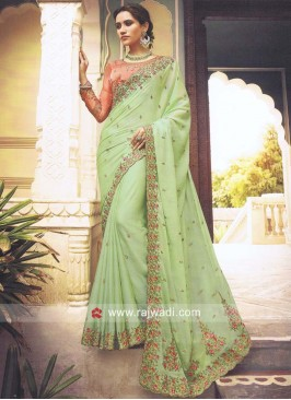 Pista Green Flower Work Saree