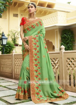Pista Green Flower Work Sari with Blouse