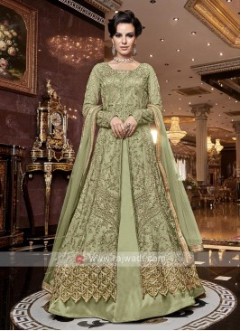 Pista Green Front Open Slit Salwar Kameez