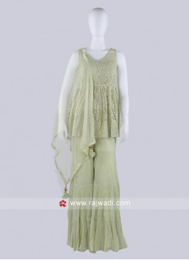 Pista Green Gharara Suit