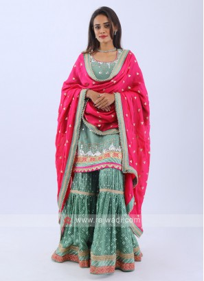 Pista Green Gharara Suit