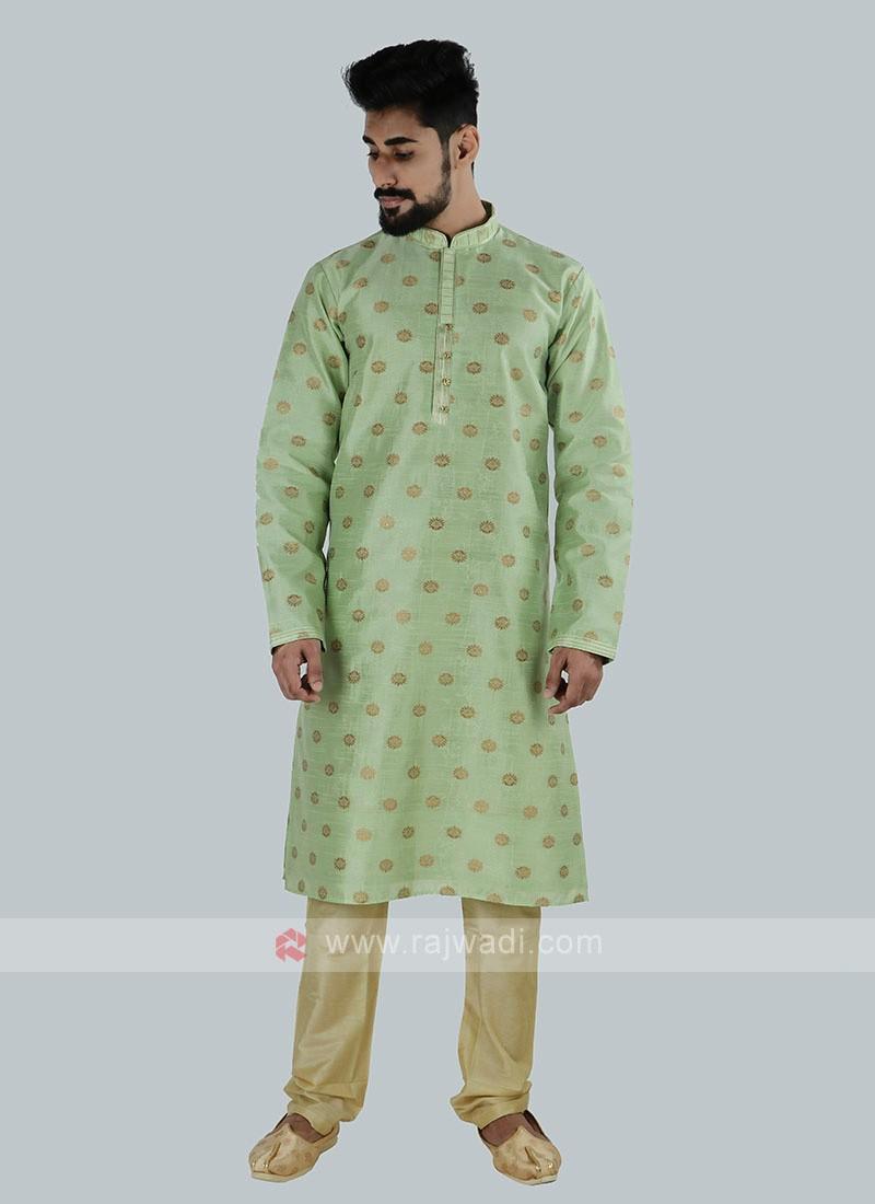 Pista Green & Golden Kurta Pajama