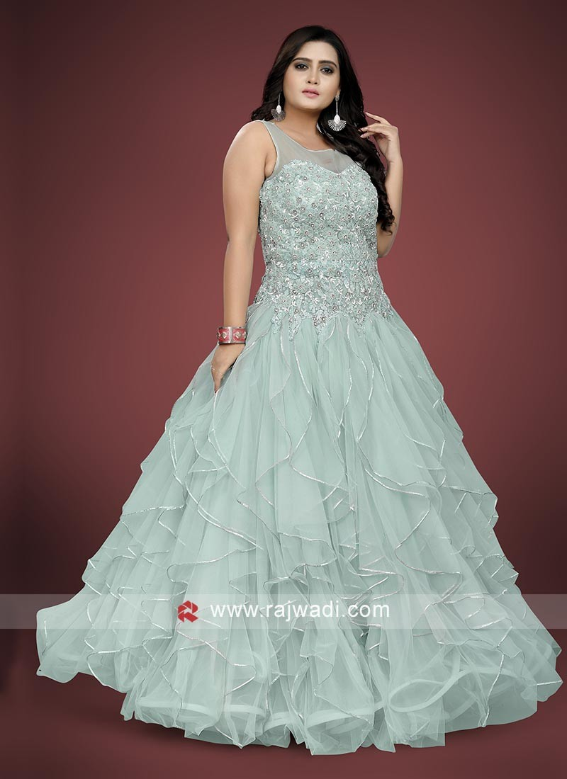 Beautiful Sky Blue Color Gown