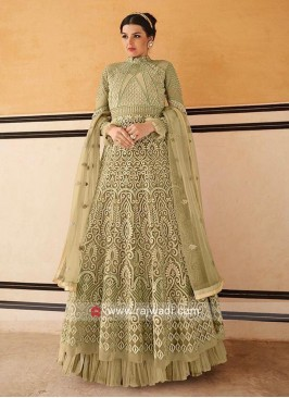Pista Green Heavy Anarkali Suit