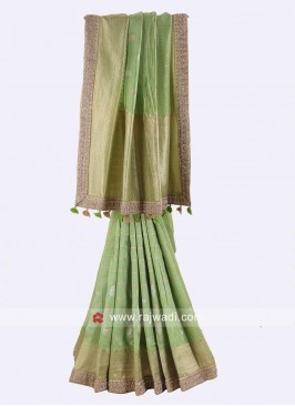 Pista Green Heavy Banarasi Silk Saree