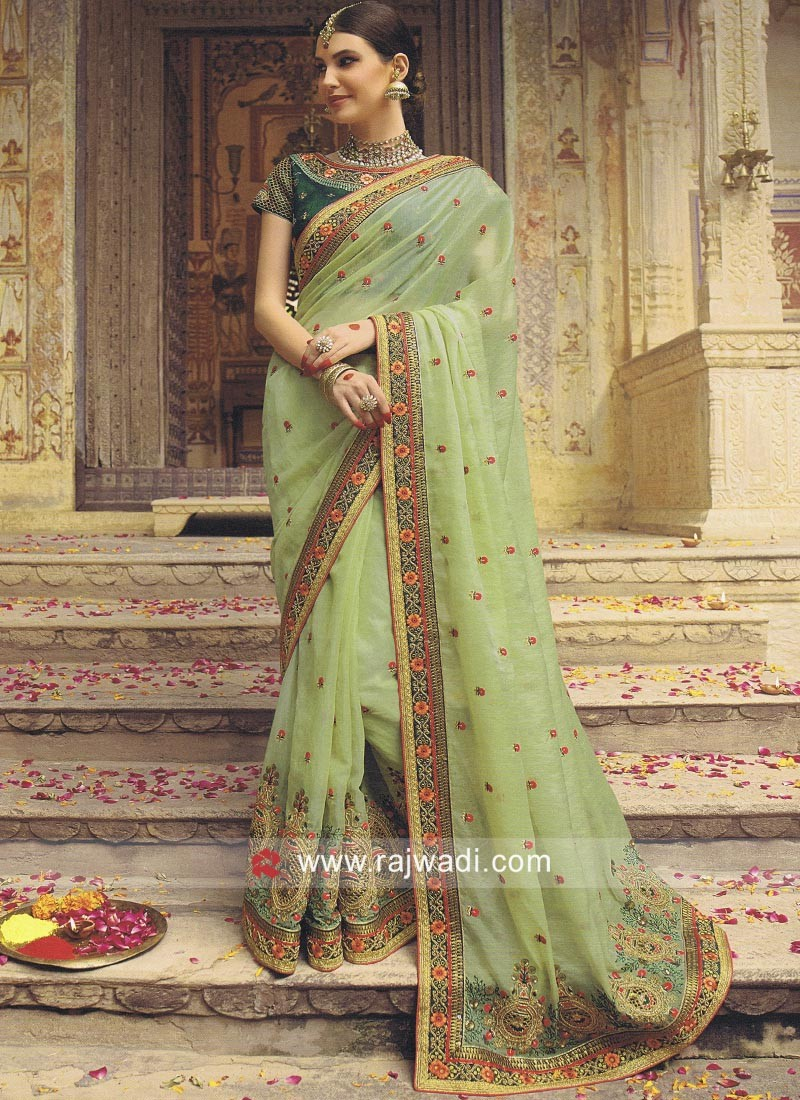 3ef841cce3 Pista Green Heavy Work Saree. Hover to zoom