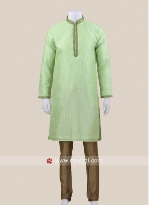 Pista Green Kurta Set For Wedding