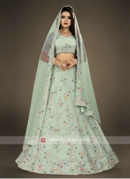 pista green Lehenga Choli for wedding