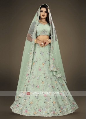 pista green Lehenga Choli for wedding