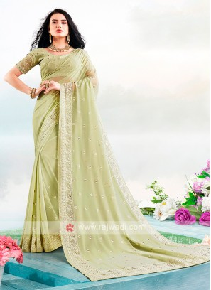 Lucknowi Work Saree In Pista Green Color