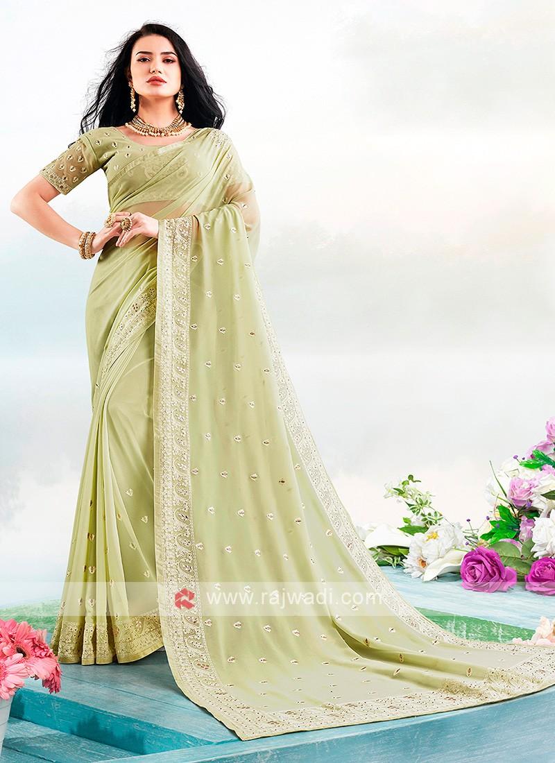 Lucknowi Work Saree In Pista Green Color