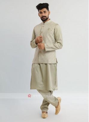 Pista Green Nehru Jacket Set