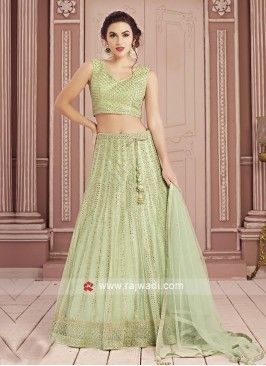 Pista Green Net Choli Suit