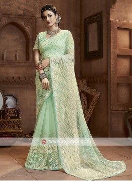 Pista Green Net Saree