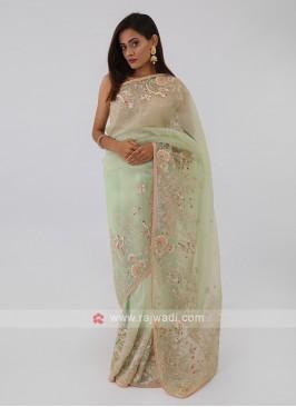 Pista Green Net Saree
