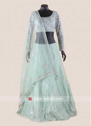 Pista Green Net Wedding Lehenga Set