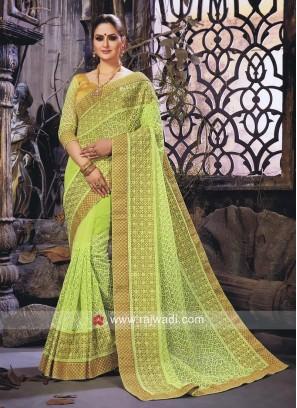 Pista Green Net Wedding Saree