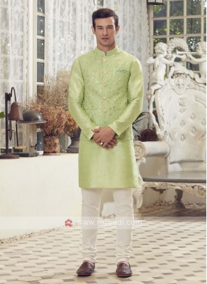 Pista Green & Off White Nehru Jacket Suit
