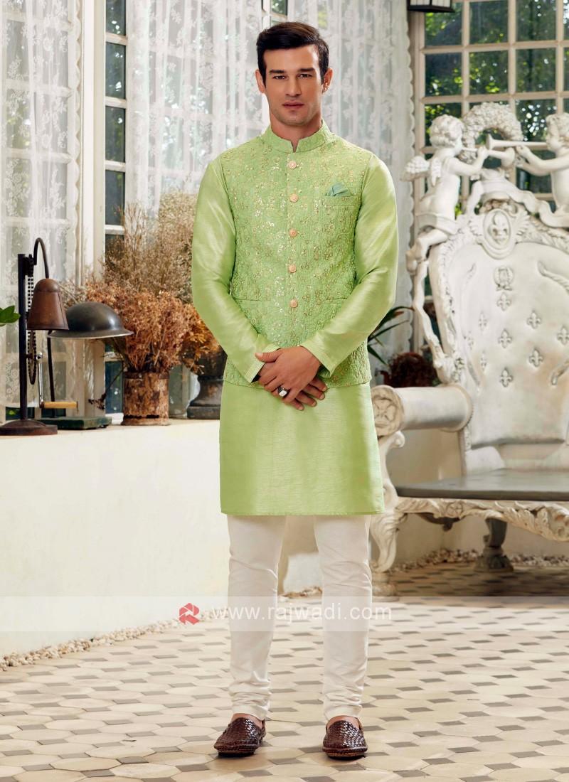 Pista Green & Off White Nehru Jacket Suit