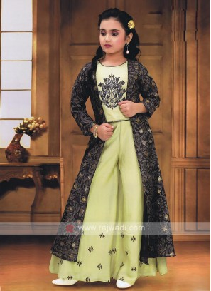 Pista green Palazzo suit with koti