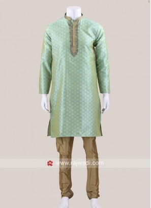 Pista Green Party Wear Kurta Pajama